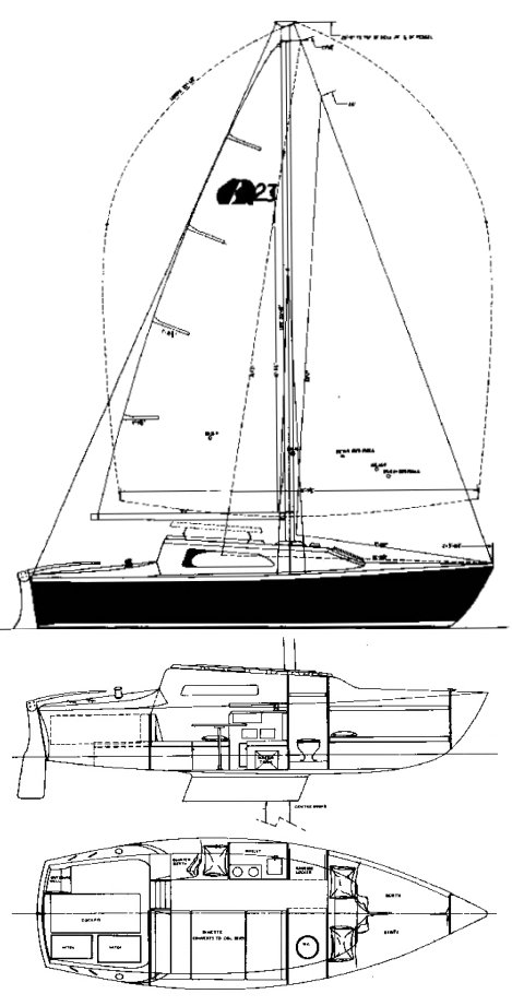 Grampian 23 drawing on sailboatdata.com