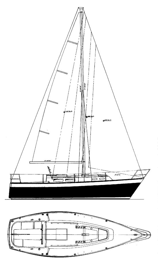 Grampian 28 drawing on sailboatdata.com