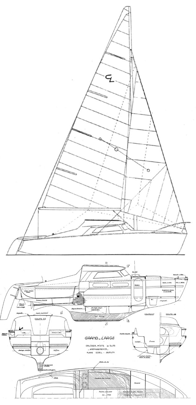 Edel Grand Large drawing on sailboatdata.com
