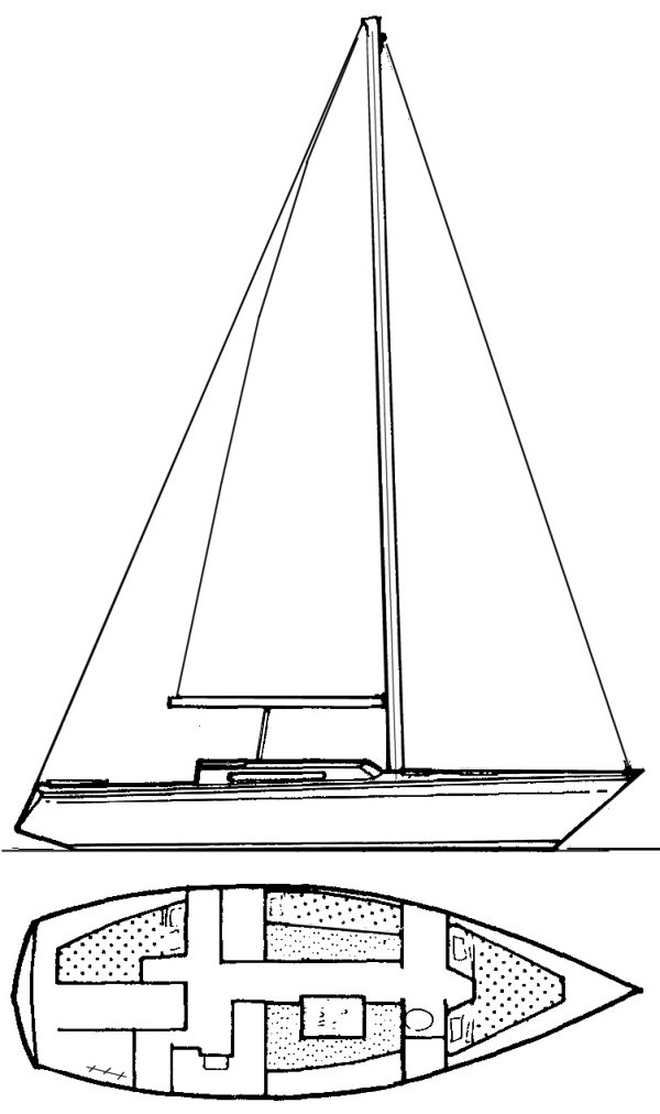 Grand Soleil 34 (Finot) drawing on sailboatdata.com