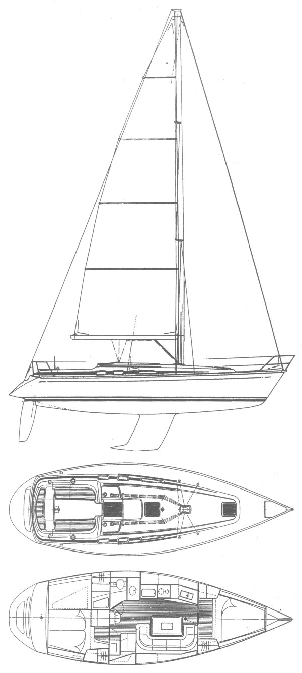 Grand Soleil 37 drawing on sailboatdata.com