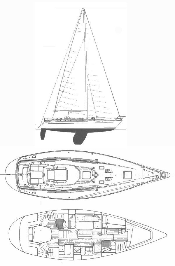Grand Soleil 45 drawing on sailboatdata.com
