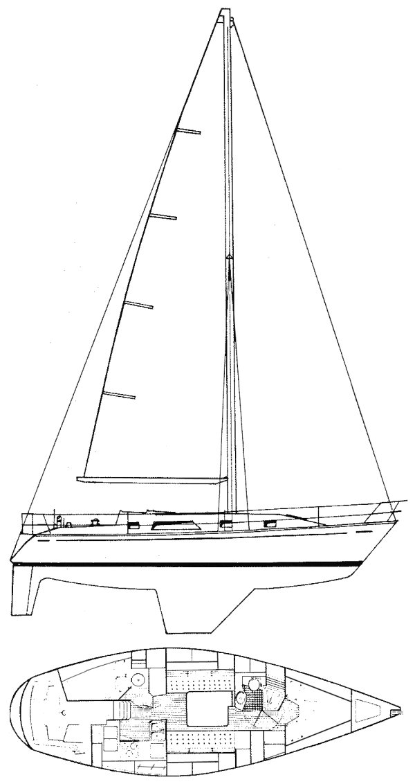 Graves 37 drawing on sailboatdata.com