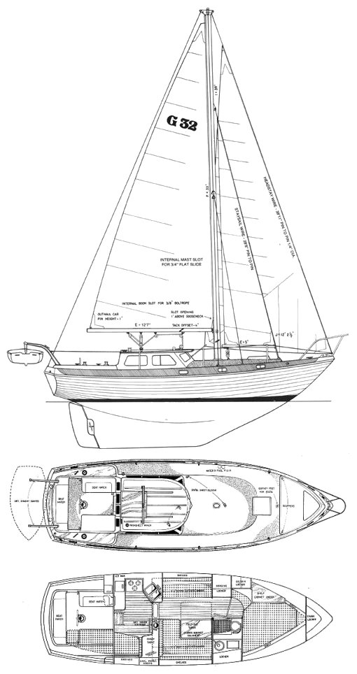 Gulf 32 drawing on sailboatdata.com