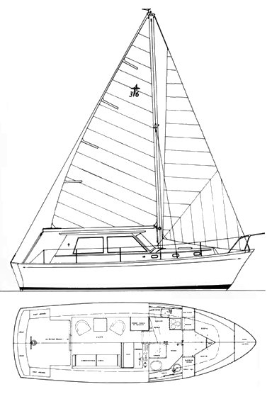 Gulfstar 36 Pilot House MS drawing on sailboatdata.com