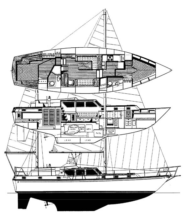 Gulfstar 47 Sailmaster drawing on sailboatdata.com