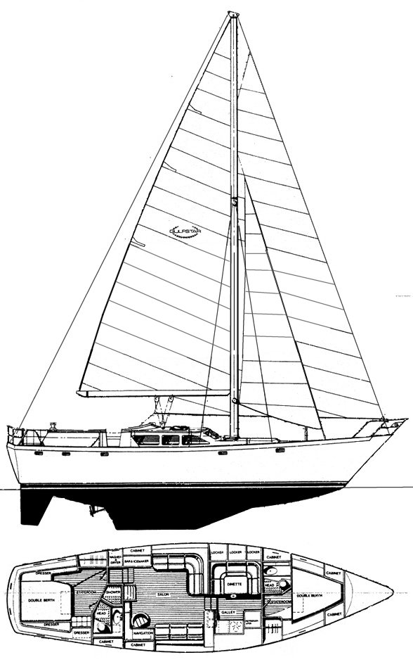 Gulfstar 50 Sailmaster drawing on sailboatdata.com