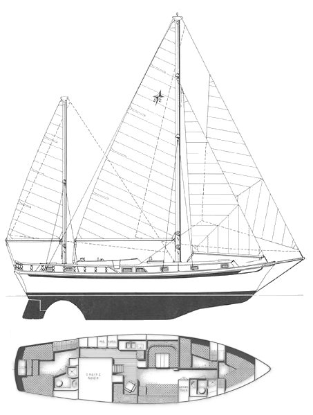 Gulfstar 52 MS drawing on sailboatdata.com