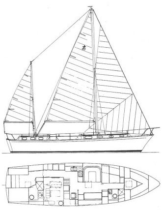 Gulfstar 53 MS drawing on sailboatdata.com