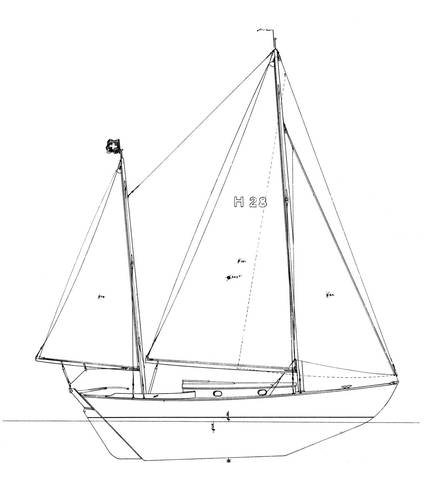 Herreshoff 28 drawing on sailboatdata.com