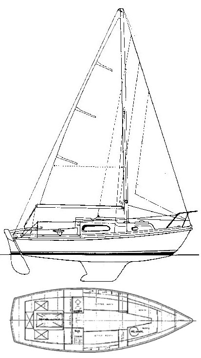 Halcyon 23 drawing on sailboatdata.com