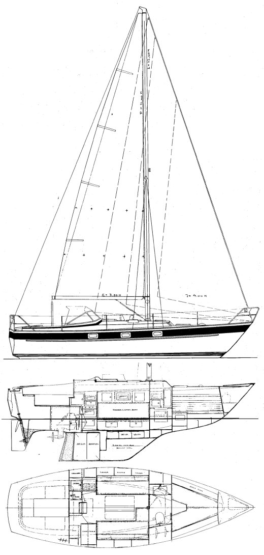 Hallberg-Rassy 312 drawing on sailboatdata.com