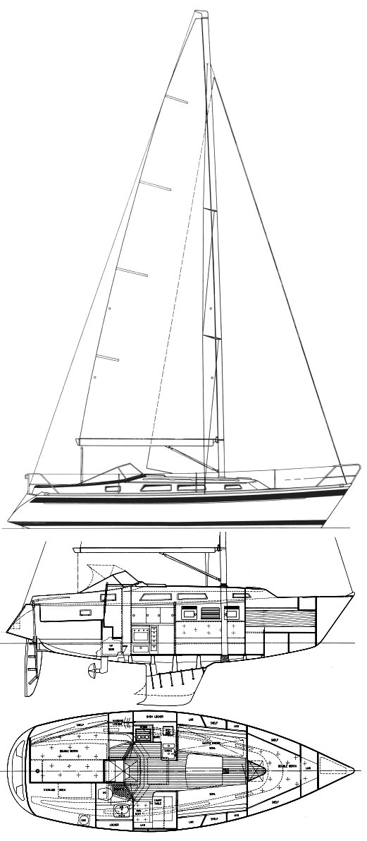 Hallberg-Rassy 31 drawing on sailboatdata.com