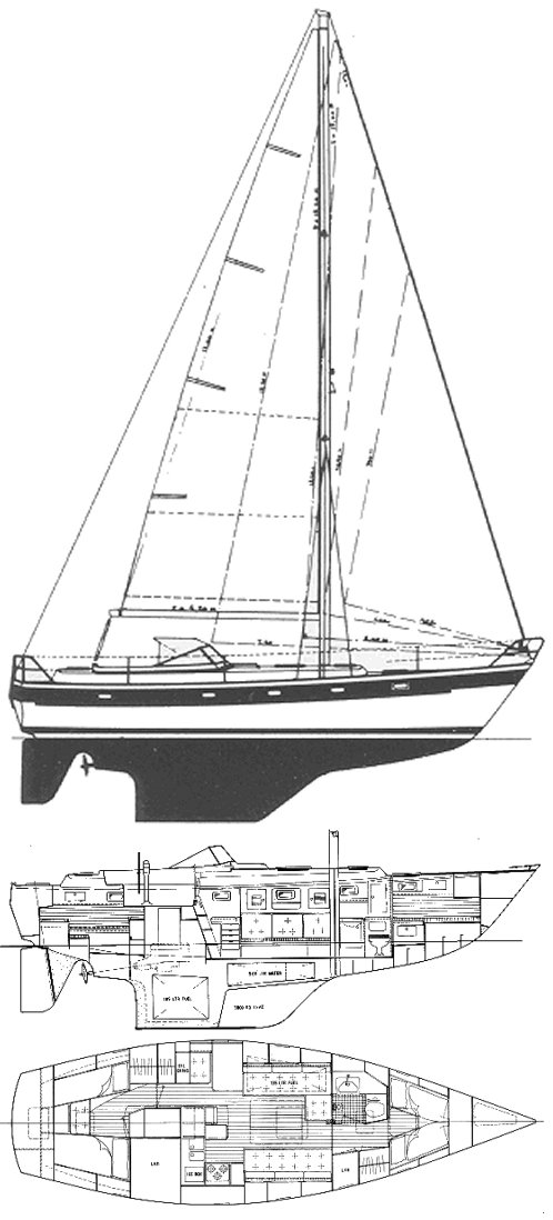 Hallberg-Rassy 382 drawing on sailboatdata.com