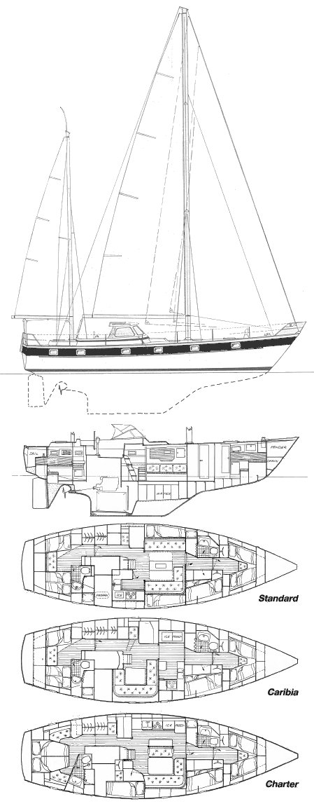 Hallberg-Rassy 49 drawing on sailboatdata.com