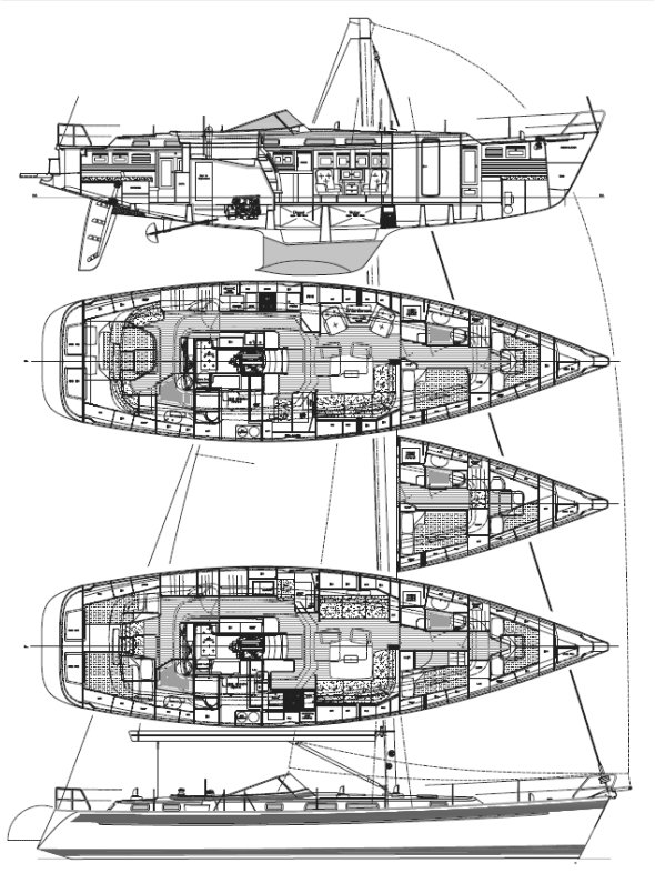 HALLBERG-RASSY 54 drawing