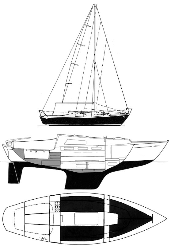 Hallberg-Rassy 24 Misil II drawing on sailboatdata.com