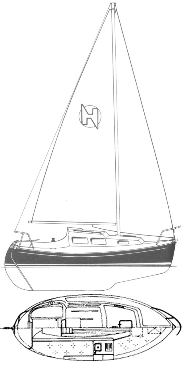 Halman 20 drawing on sailboatdata.com