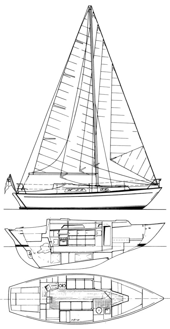 Halmatic 30 drawing on sailboatdata.com