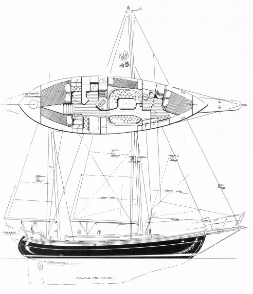 Hans Christian 43T drawing on sailboatdata.com