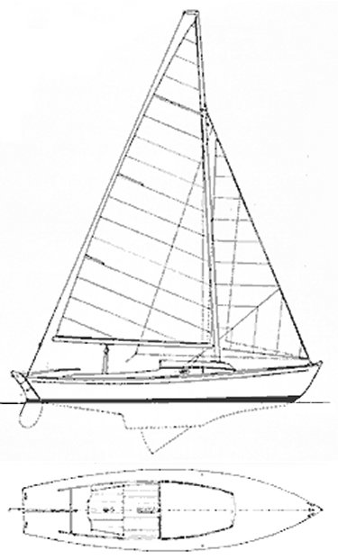 Hansa Jolle drawing on sailboatdata.com