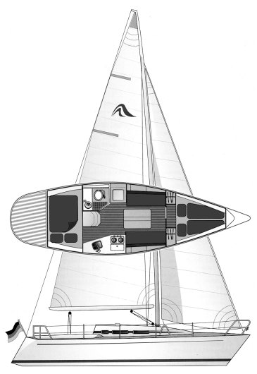 Hanse 301 drawing on sailboatdata.com
