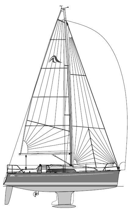 Hanse 320 drawing on sailboatdata.com