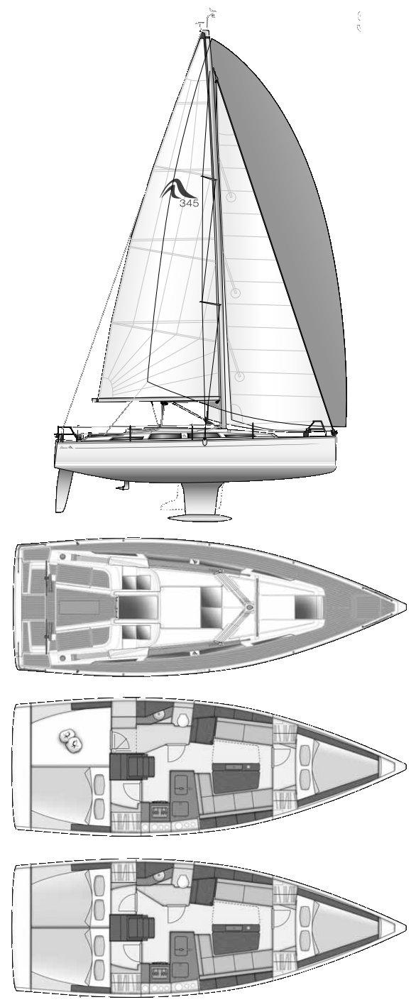 HANSE 345 drawing