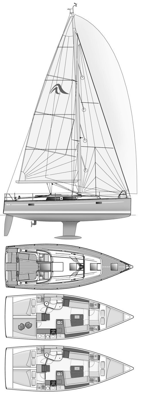 Hanse 385 drawing on sailboatdata.com