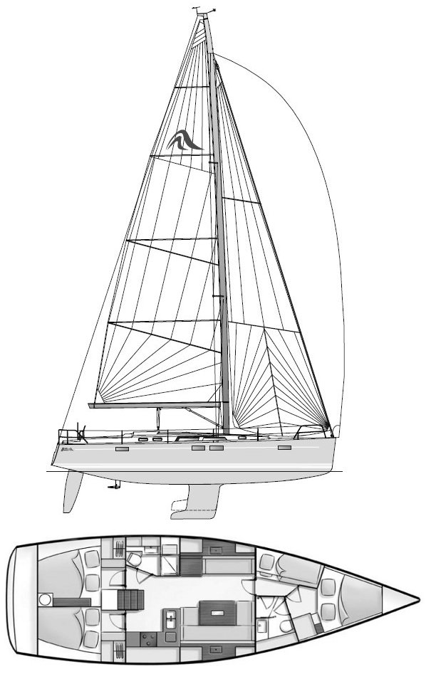 Hanse 430 drawing on sailboatdata.com