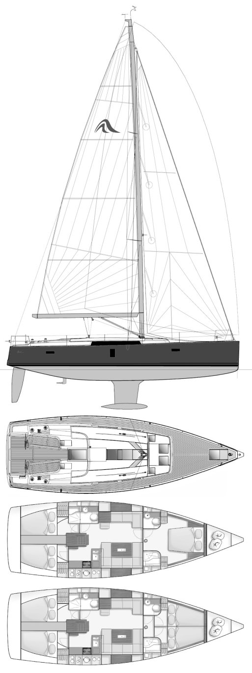 Hanse 445 drawing on sailboatdata.com