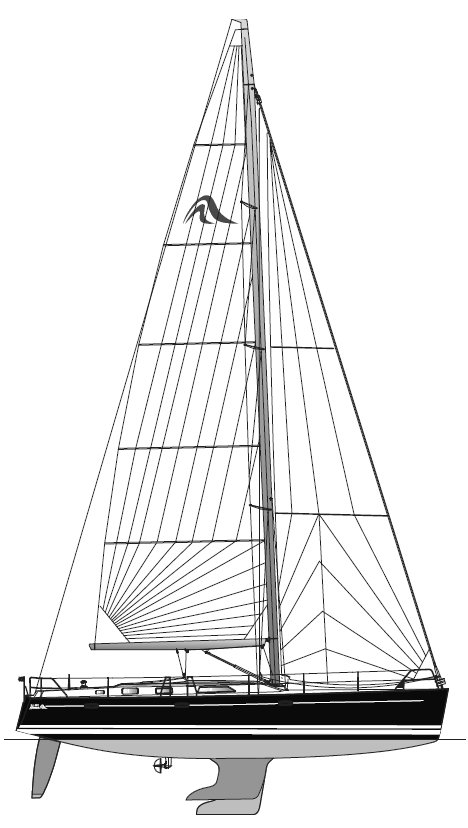 Hanse 461 drawing on sailboatdata.com