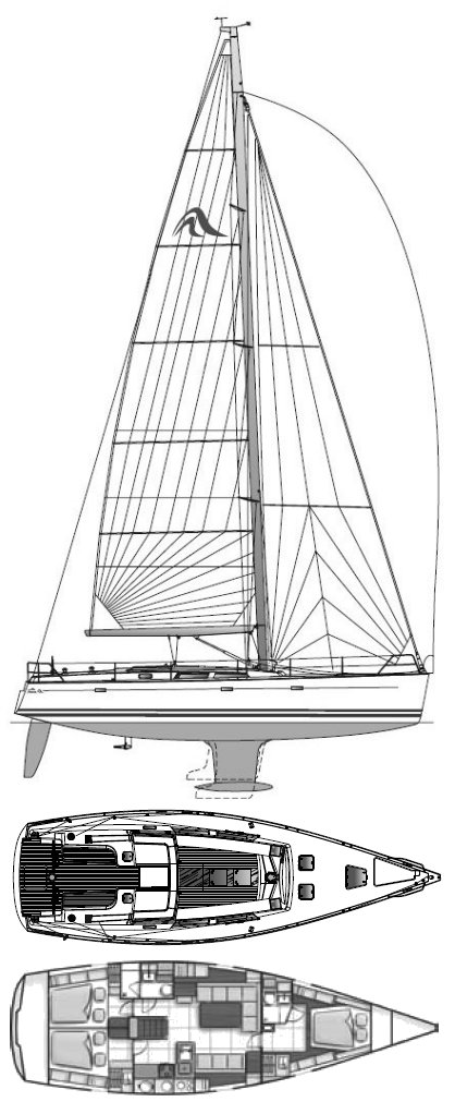 Hanse 470 drawing on sailboatdata.com