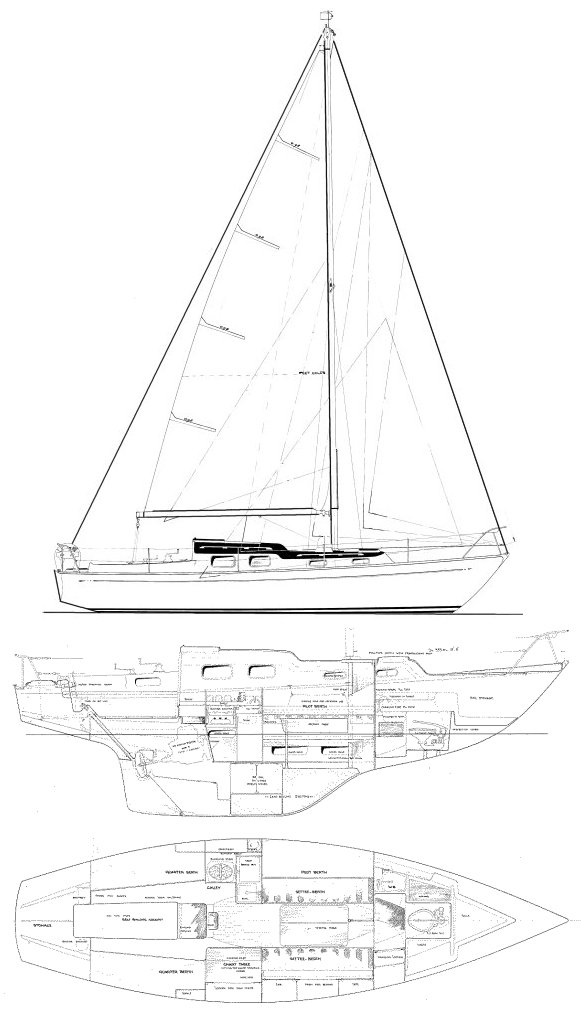 Harmony 31 drawing on sailboatdata.com