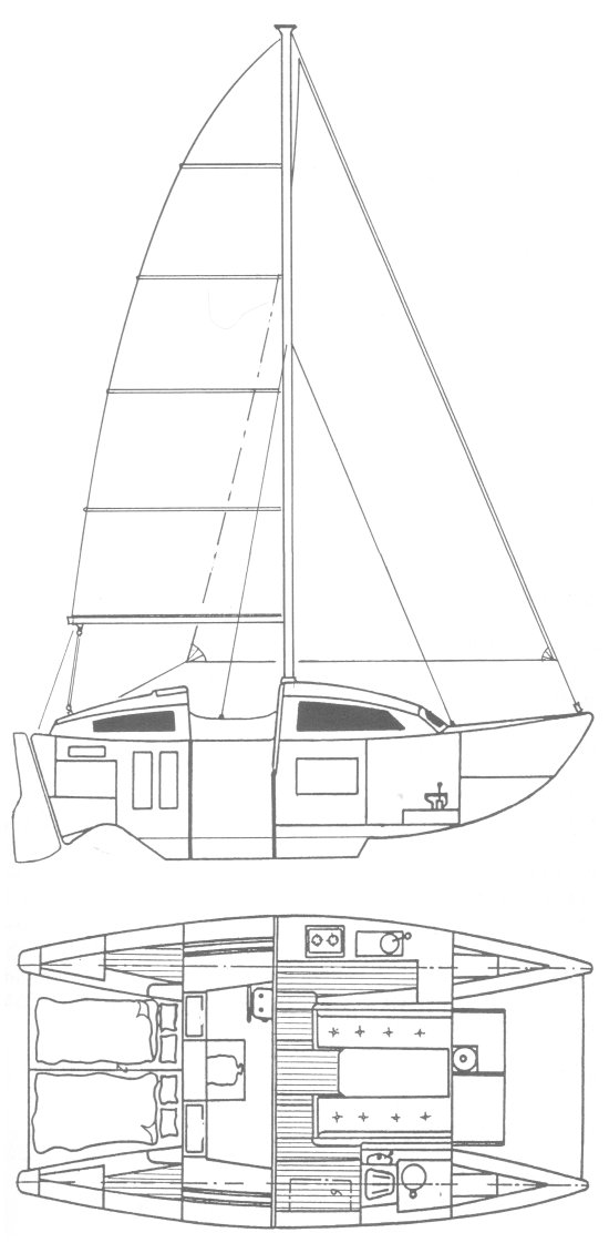 Heavenly Twins drawing on sailboatdata.com