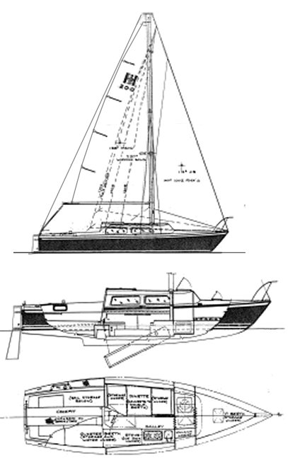 Helms 25 drawing on sailboatdata.com