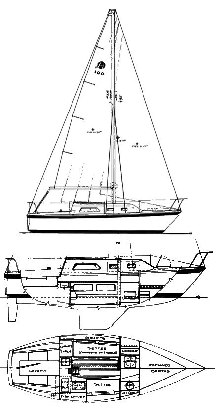 Helms 27 drawing on sailboatdata.com