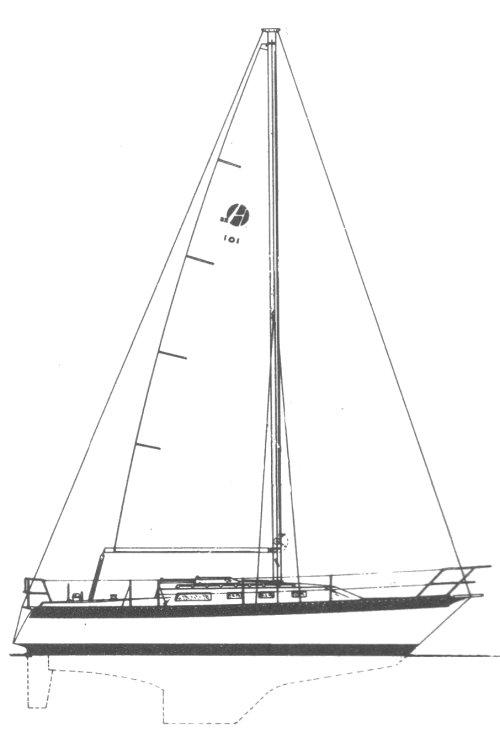 Helmes 32 drawing on sailboatdata.com