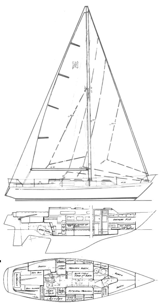 Heritage 35 drawing on sailboatdata.com