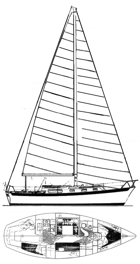 Heritage West Indies 36 drawing on sailboatdata.com