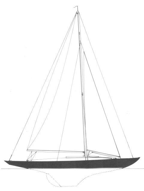 Herreshoff 23' WL Knockabout drawing on sailboatdata.com