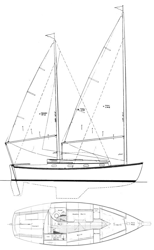 Herreshoff 31 (Cat Ketch) drawing on sailboatdata.com