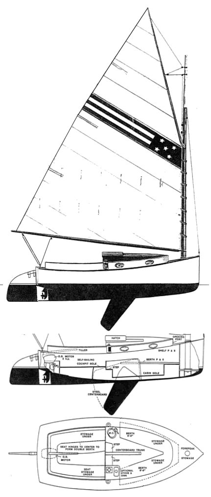 Herreshoff America drawing on sailboatdata.com