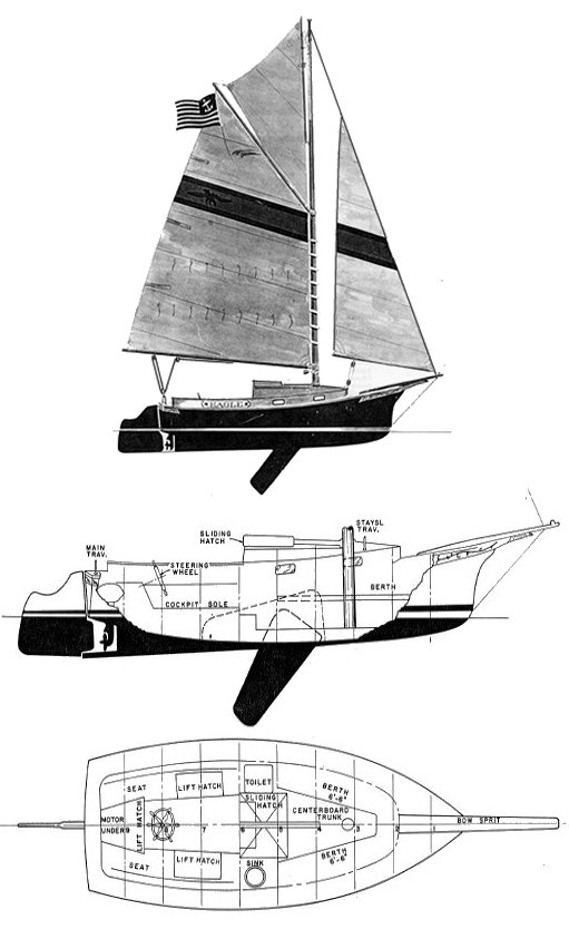 Herreshoff Eagle drawing on sailboatdata.com
