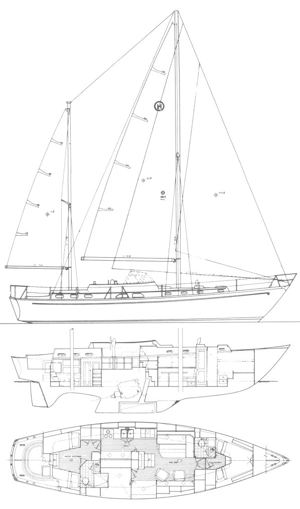 Hinckley 49 drawing on sailboatdata.com