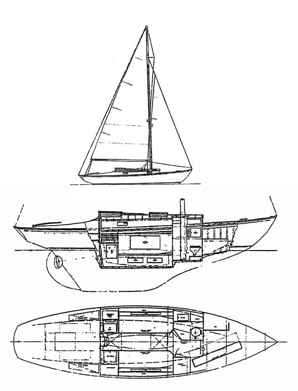 Hinckley Islander 31 drawing on sailboatdata.com