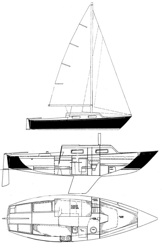 Hinterhoeller 25 drawing on sailboatdata.com