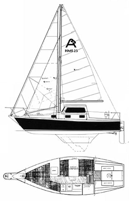 HMS 23 (Allmand) drawing on sailboatdata.com