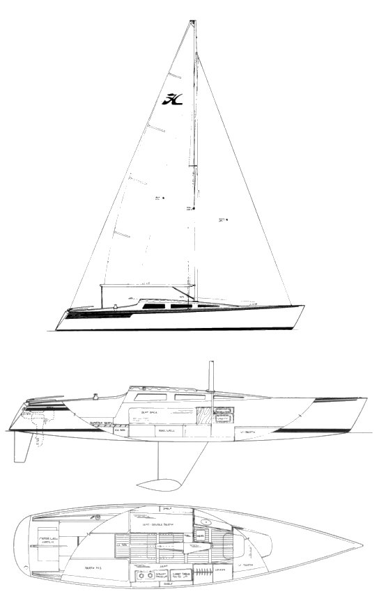 Hobie 33 drawing on sailboatdata.com