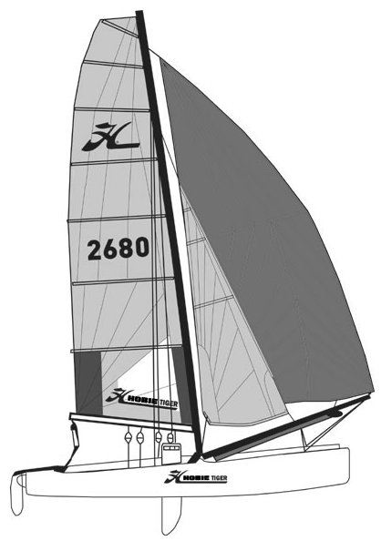 Hobie Tiger 18 drawing on sailboatdata.com